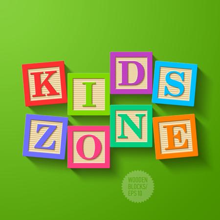 zone: Kids Zone - houten blokken Stock Illustratie