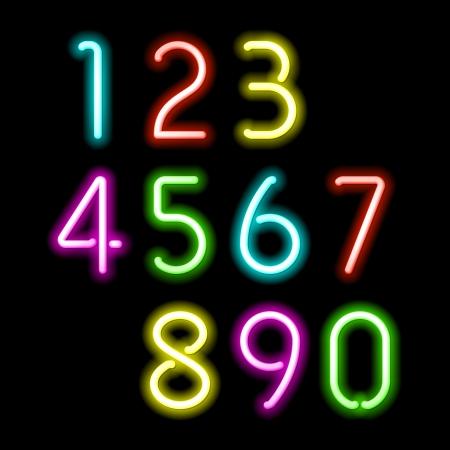 Números de néon Foto de archivo - 24507348