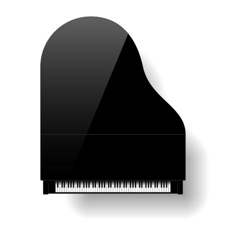 teclado de piano: Negro vista gran parte superior de piano Vectores