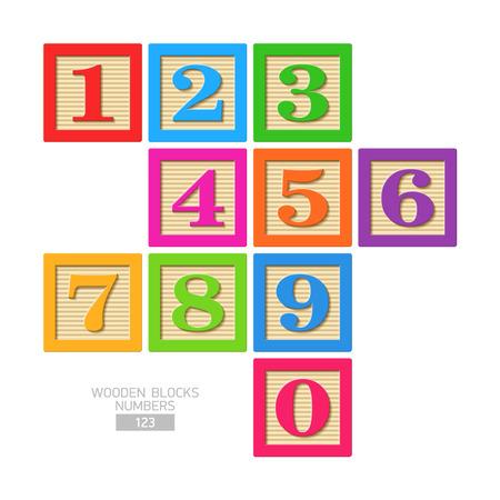 Houten blokken - nummers Stock Illustratie