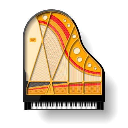 グランド ピアノのインテリア  イラスト・ベクター素材