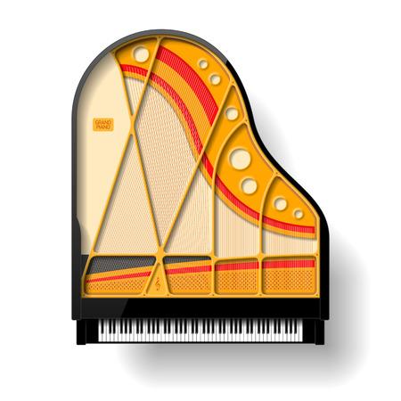 piano keyboard: Grand piano interior