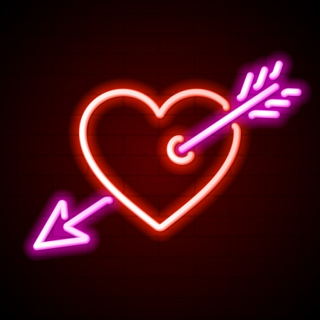 shiny hearts: Heart with arrow neon sign
