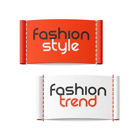 Etiquetas das roupas, estilo de moda e tendência de moda Ilustração