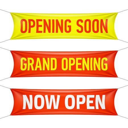 すぐに、グランド オープン、今開いているビニールのバナーを開く