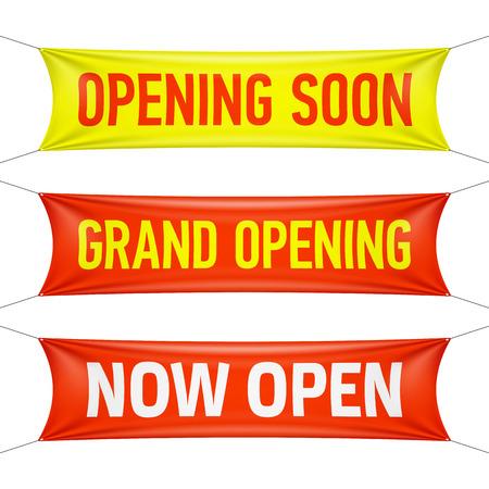 Ffnungs Bald Grand Opening und Jetzt geöffnet Vinyl-Banner Standard-Bild - 25513534