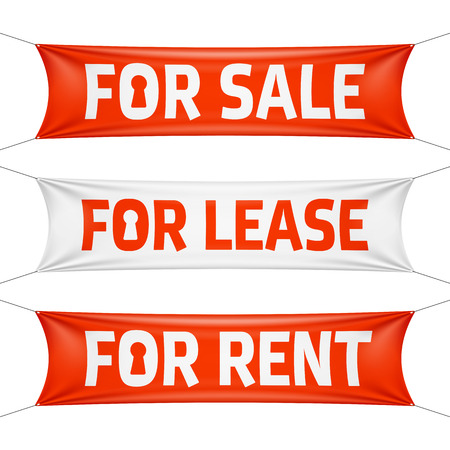 Fore Sale, For Lease and For Rent vinyl banners Illustration