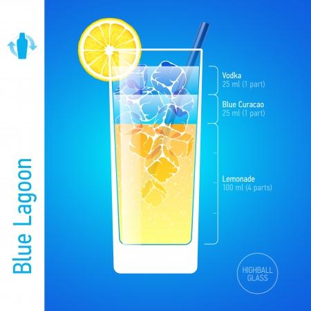 Blue Lagoon cocktail Vektorové ilustrace