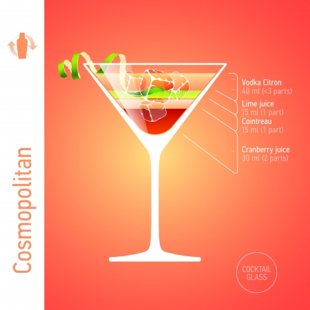 colorful straw: Cosmopolitan cocktail