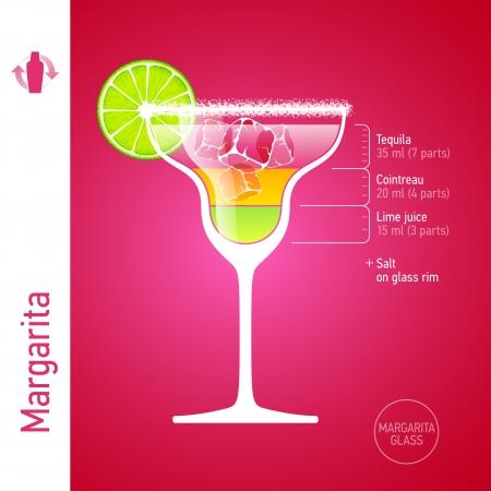 coctel de frutas: Margarita cóctel Vectores