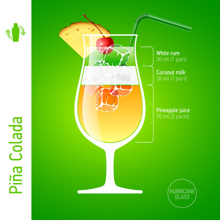 colorful straw: Pina Colada cocktail Illustration