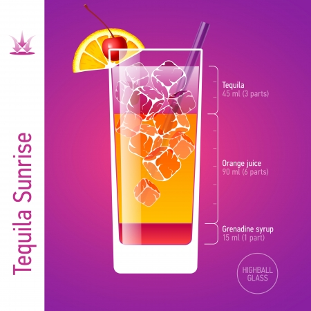 colorful straw: Tequila Sunrise cocktail