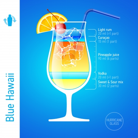 colorful straw: Blue Hawaii cocktail Illustration