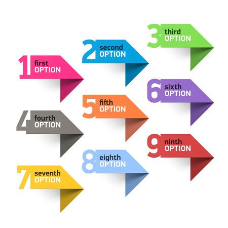 flechas: Números fijados elementos infográficos Vectores