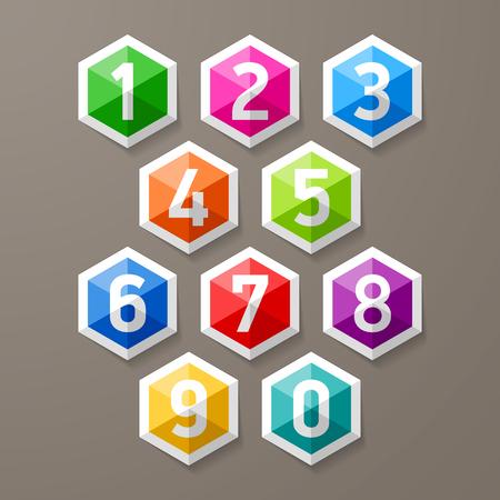 Diamond shaped glass numbers set Vector