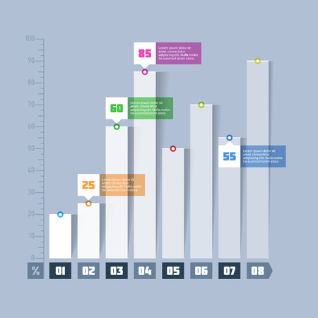 Staafdiagram, grafiek infographics element Vector Illustratie