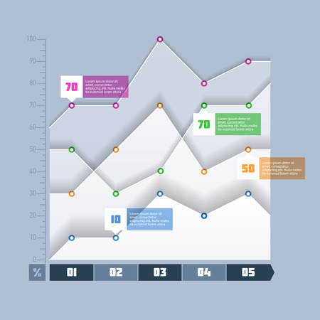 Area chart, graph infographics element
