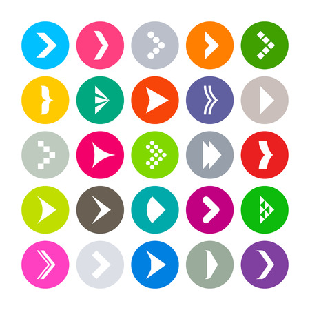 25 flat round icons with arrows signs Vector
