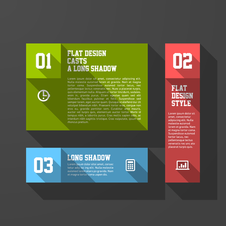 long shadow: Plantilla de elementos de dise�o, estilo de sombra larga Vectores