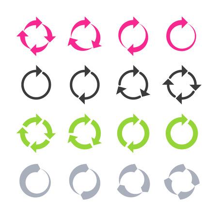 Rotación, recargar, signos de refresco, círculo, ciclo de flecha Vectores