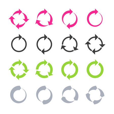 refrescarse: Rotación, recargar, signos de refresco, círculo, ciclo de flecha Vectores