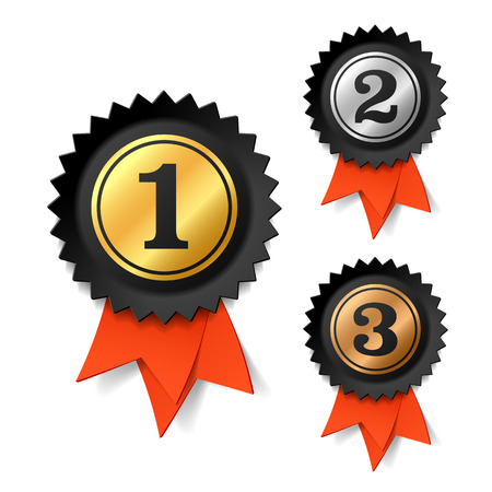 silver ribbon: Gold, silver and bronze award ribbons Illustration