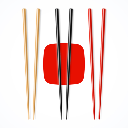 ,, Chopsicks noir rouge en bois