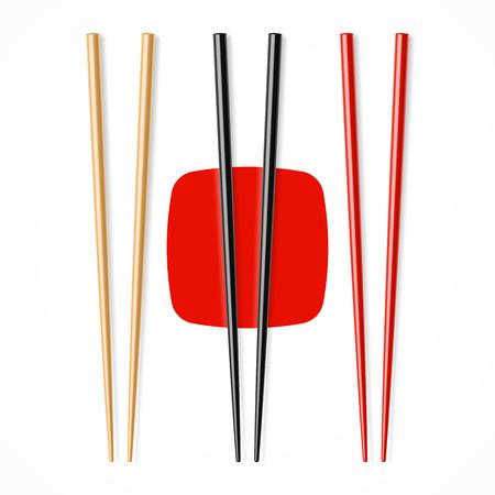 Rojo, negro, chopsicks madera