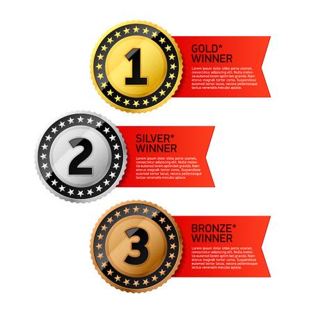 primer lugar: Oro, plata y bronce ganadores medallas Vectores