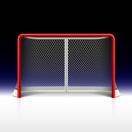 Ice hockey net, goal on black Illustration