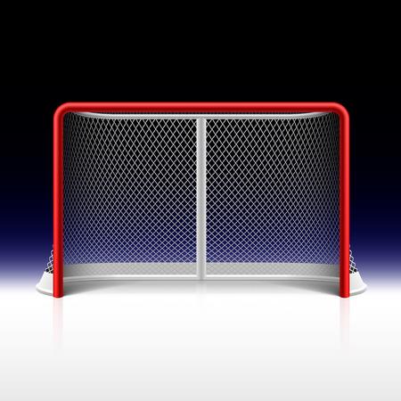 doelen: Ijshockey netto, doel op zwart Stock Illustratie