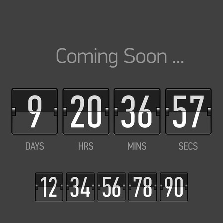 Flip Coming Soon, countdown timer template Vector