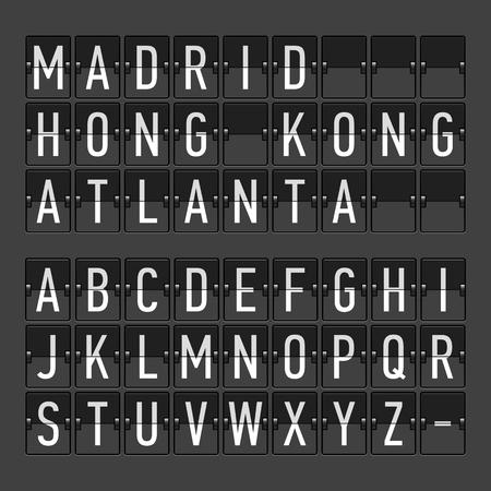 timetable: Orario partenza arrivo terminal dell'aeroporto, pannello informativo, esposizione alfabeto Vettoriali