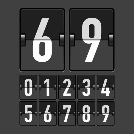 indicator panel: Mechanical timetable, scoreboard, information board, display numbers Illustration