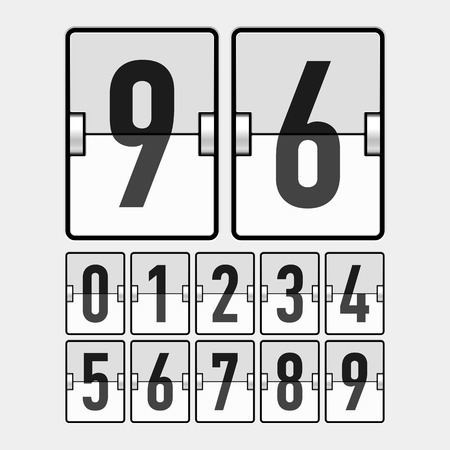 timetable: Mechanical timetable, scoreboard, information board, display numbers Illustration