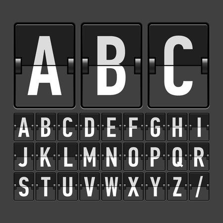 cronograma: Calendario mecánico, panel de información, alfabeto pantalla Vectores