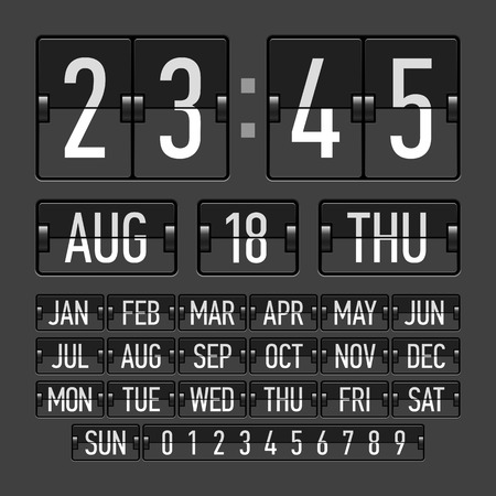 indicator board: Flip clock template with time, date and day Illustration