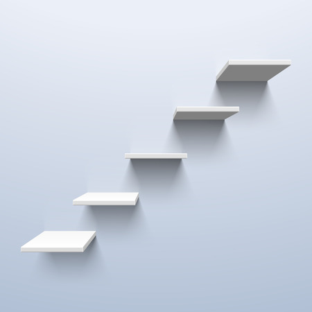empty shelf: Shelves in the shape of stairs Illustration