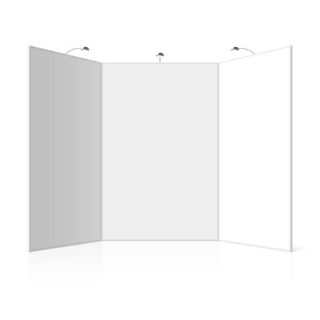Portable folding presentation display board with three panels, exhibition stand