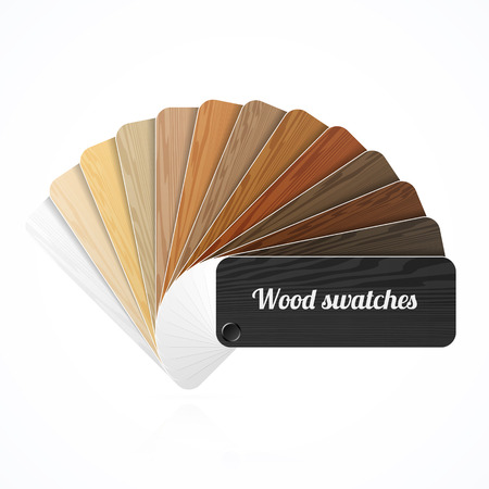 Wood color swatches, guide, samples, fan Vector