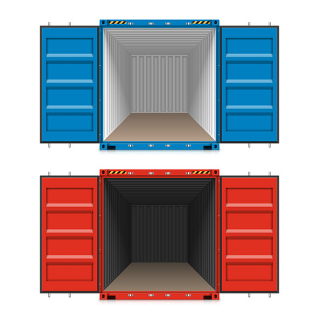import trade: Freight shipping, open cargo containers
