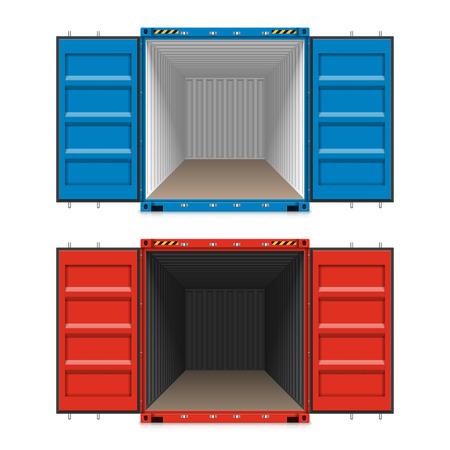 Wysyłka ładunki, otwarte kontenery Ilustracje wektorowe