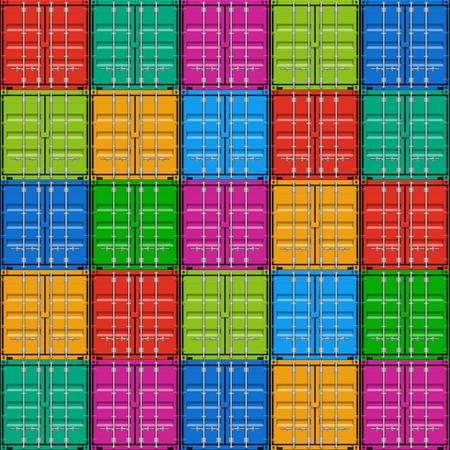 Il trasporto merci, container impilati illustrazione senza soluzione di continuità Archivio Fotografico - 26740921