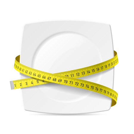 measure tape: Plate with measuring tape - diet theme