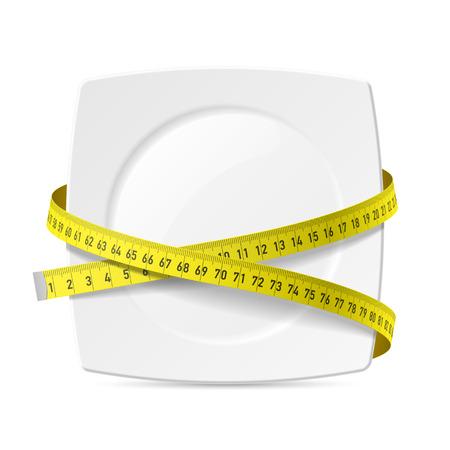 Plato con cinta métrica - tema de la dieta