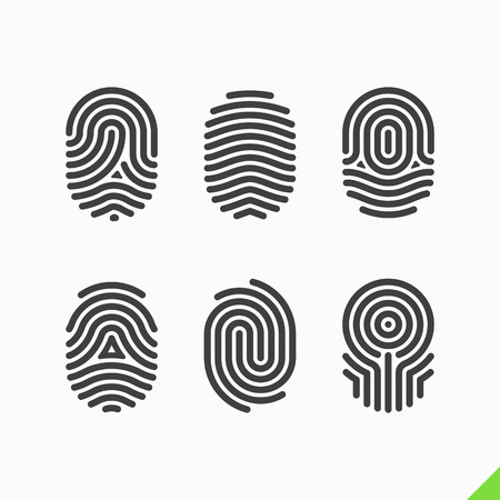 Iconos de huellas digitales establecidos Ilustración de vector