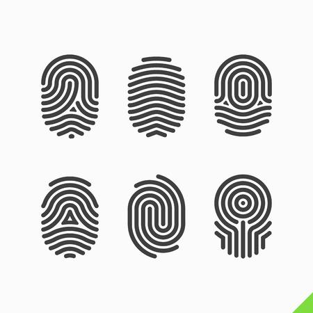 odcisk kciuka: Zestaw ikon linii papilarnych Ilustracja