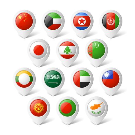 Wijzers van de kaart met vlaggen Azië