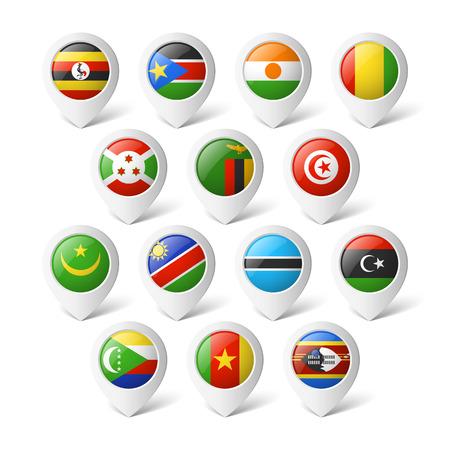 banderas del mundo: Punteros con banderas África Vectores