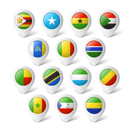 Map pointers with flags  Africa  Vector